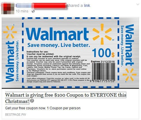 walmart is giving free 100 coupon