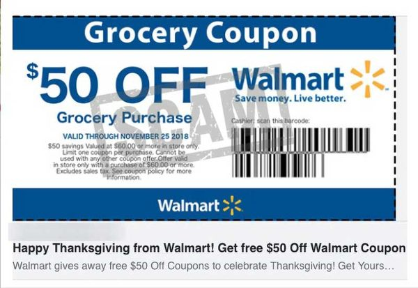 Free $100 or $1,000 Walmart Gift Card Scam