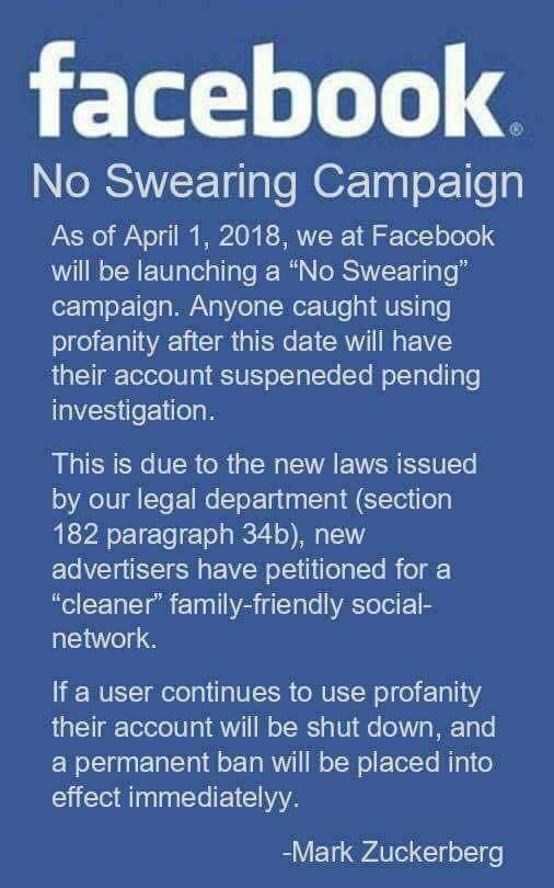 Has Facebook Launched a 'No Swearing' Campaign?