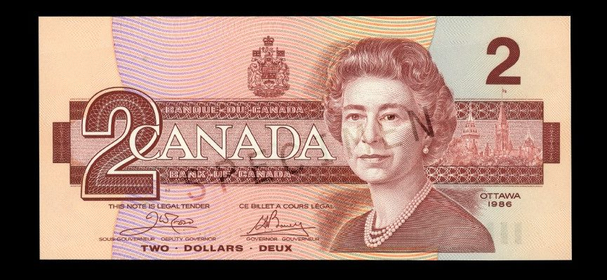 U S Flag On Canadian Currency