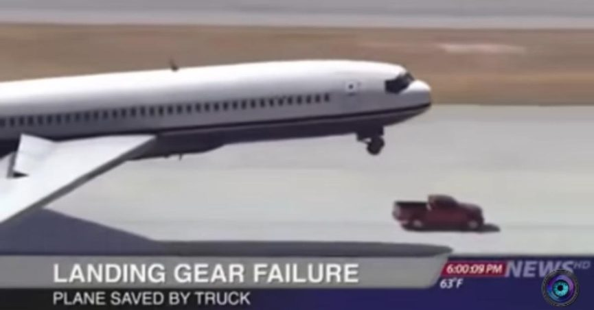 Plane with Landing Gear Failure Saved by Truck?