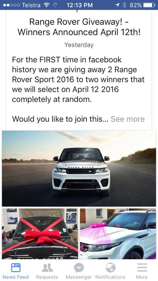 range rover facebook giveaway fact check facebook car giveaway 9618