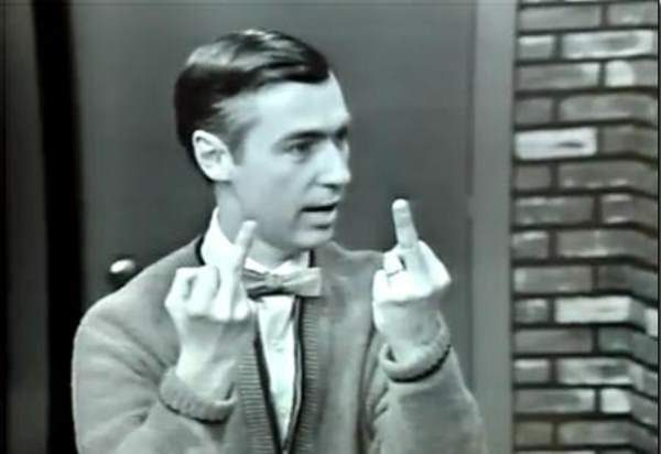 Image result for mister rogers giving bird