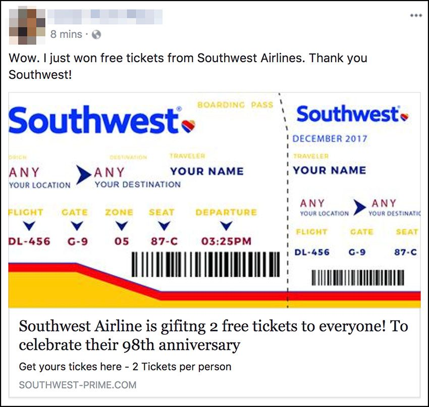 Free Southwest Tickets Scam
