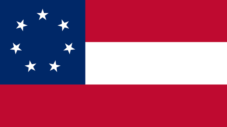 Confederate flag 1861 The first official national flag of the Confederacy, often called the Stars and Bars, flew from March 4, 1861, to May 1, 1863.