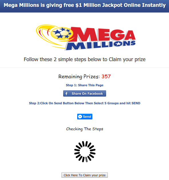 SCAM: Powerball/Mega Million Facebook $1 Million Giveaway