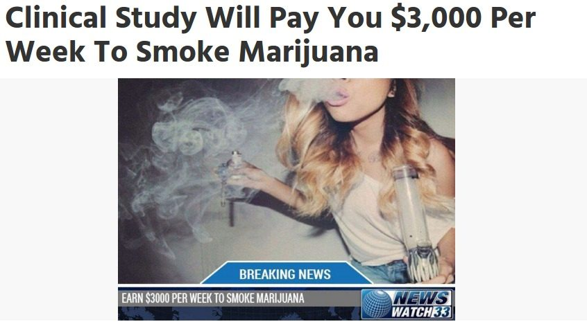 FALSE: Clinical Study Will Pay You $3,000 Per Week to Smoke