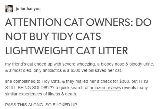tidy cats breathing problems
