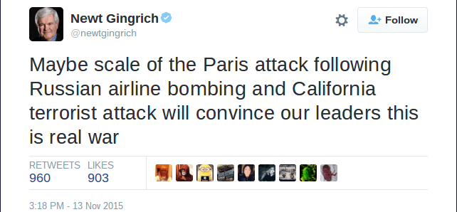 size 40 95f9b ea293 Newt Gingrich almost certainly wasn t referencing the San Bernardino  shooting in a 13 November 2015 tweet.