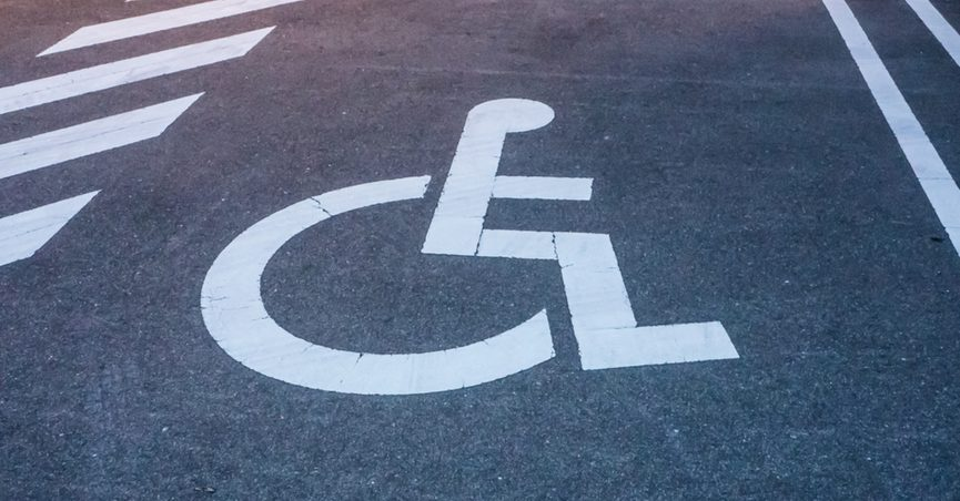 Disabled parking space.