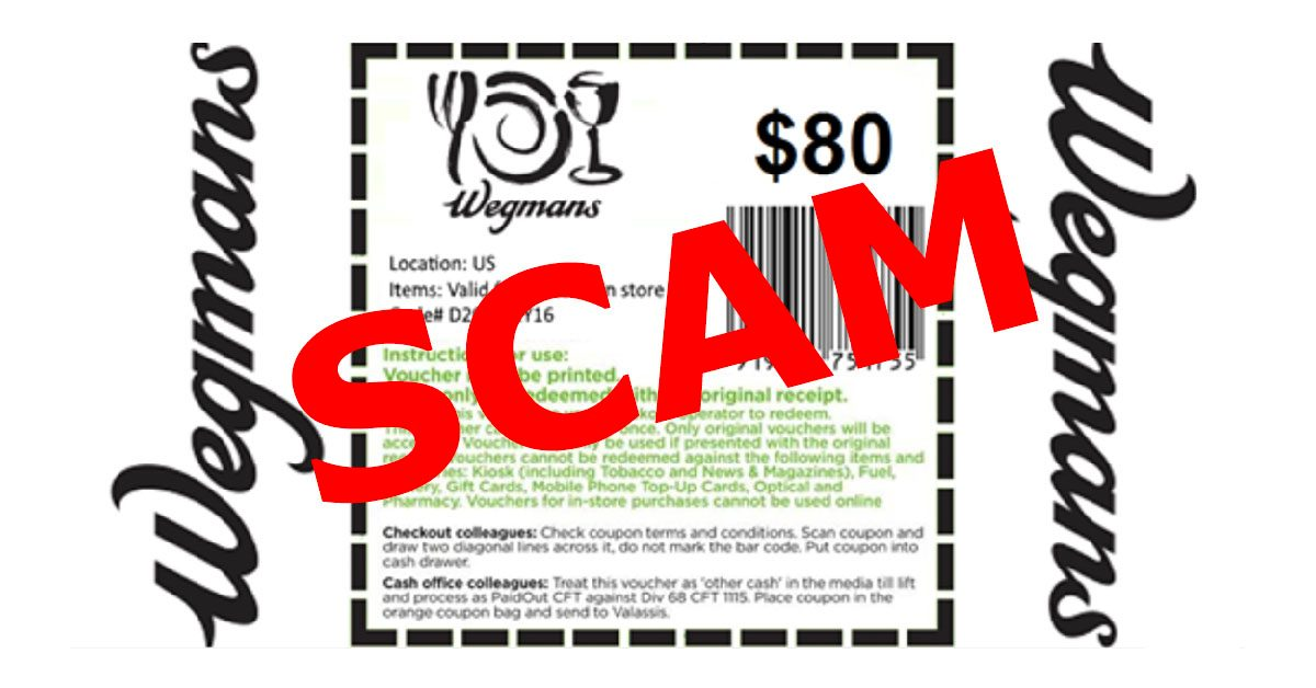image regarding Wegmans Coupons Printable called Fake: Wegmans Promoting Fb Coupon
