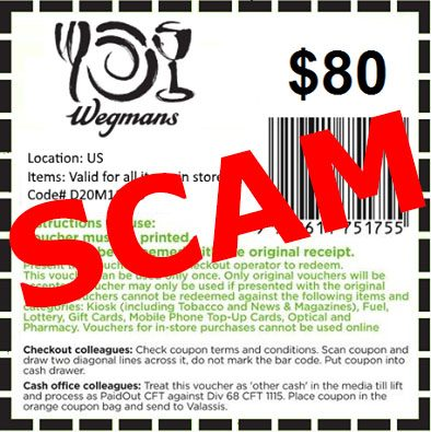 image about Wegmans Coupons Printable titled Bogus: Wegmans Selling Fb Coupon