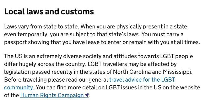 Usa Travel Advice >> Uk Issues Lgbt Travel Warning For United States