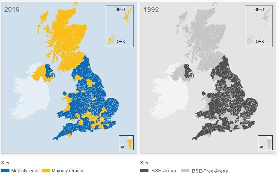 Map Of England Joke.Does This Map Show Mad Cow Disease Prevalence Vs Brexit Voters