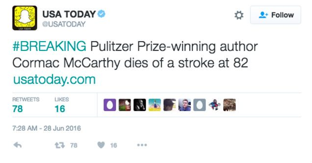 cormac mccarthy usa today