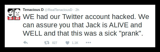 jack black death hoax tweet