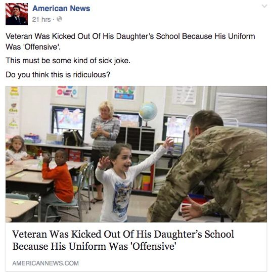 veteran was kicked out of his daughter's school because his uniform was offensive