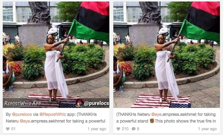 hillary supporter stands on flag