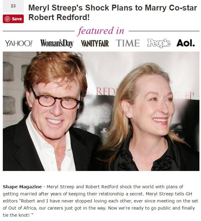 Robert Redford and Meryl Streep: Not a Couple