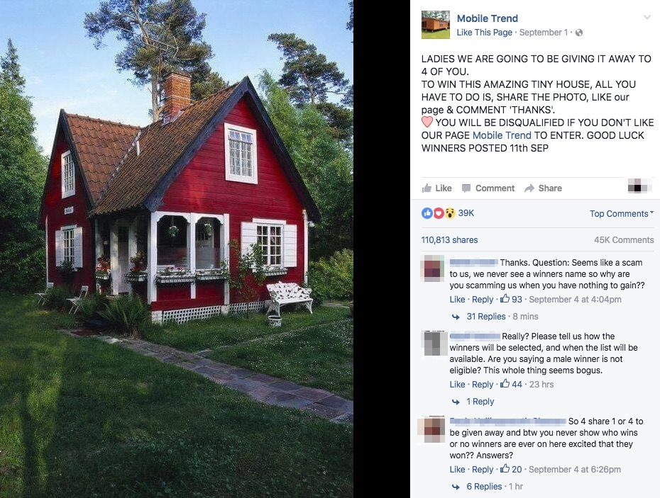 tiny house giveaway fb
