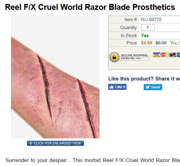 WalMart 'Suicide Scar Wound' Costume Provokes Outrage
