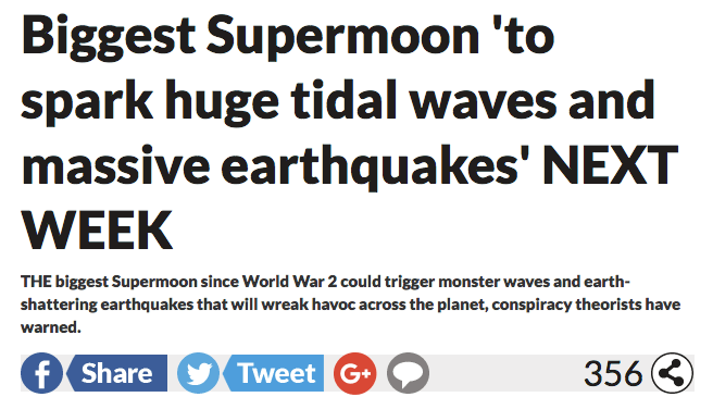 FALSE: Rare Supermoon Is Going to Unleash Tidal Waves and Massive Earthquakes