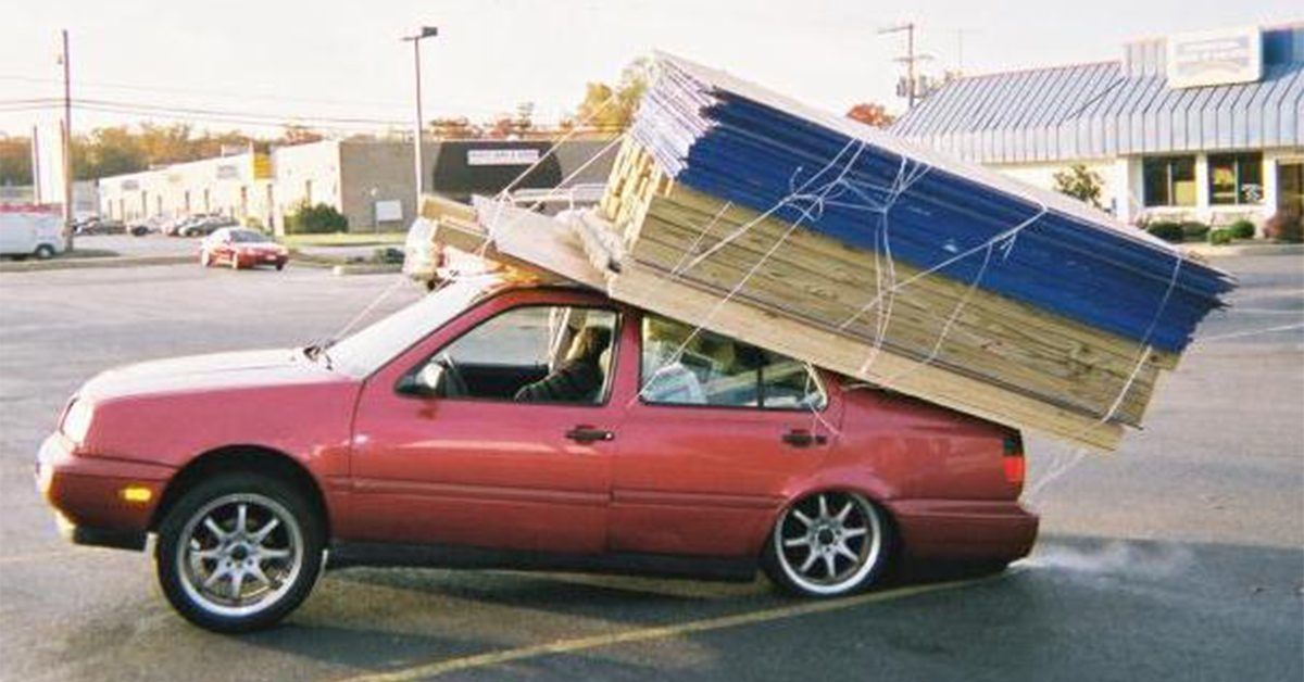 Is This Car Loaded with 3000 Lbs  of Building Supplies?