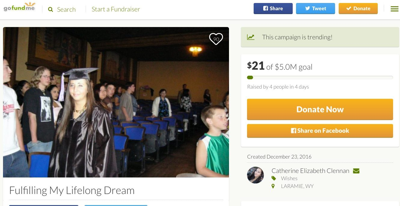 Is Catherine Elizabeth Clennan's GoFundMe Campaign Authentic?