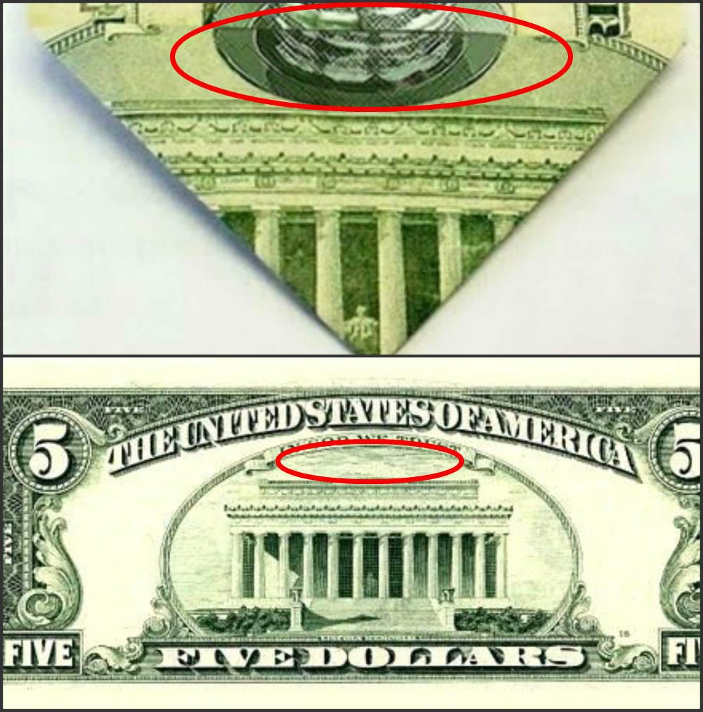 The Bottom Triangle Of The Image Displayed Here Features The Top Of The Lincoln Memorial However This Marking Is Not Actually Present On A Five Dollar