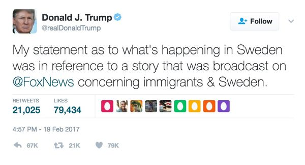 president trump what happened last night in sweden