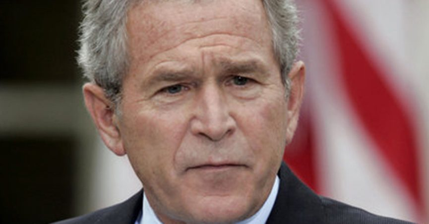 Former U.S. President George W. Bush frowning