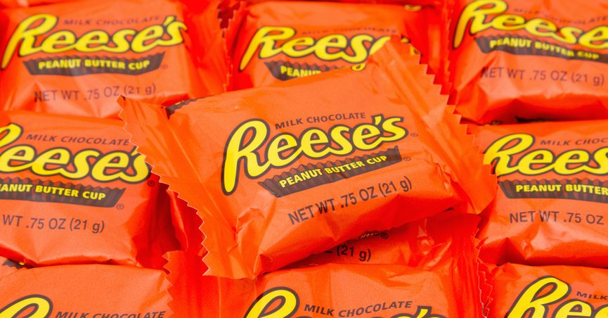 A pile of Reese's Peanut Butter Cups.