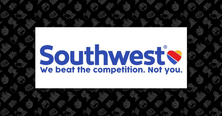 """Southwest logo with fake tagline """"We beat the competition. Not You."""""""