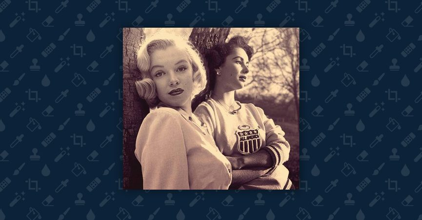 Doctored image of a young Marilyn Monroe leaning against a tree next to a young Elizabeth Taylor.