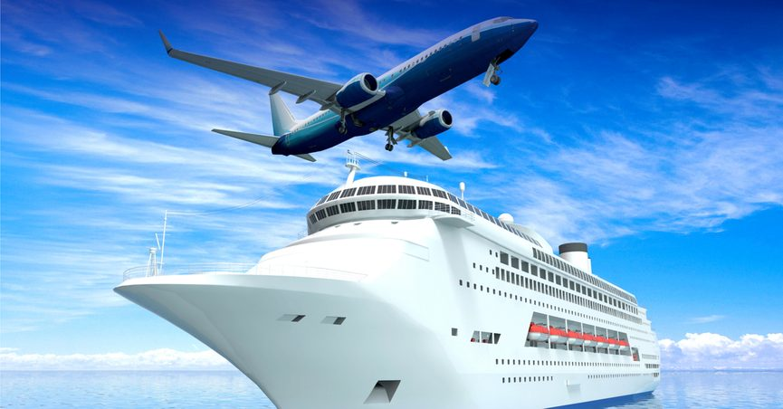 Rendering of plane over a cruise ship