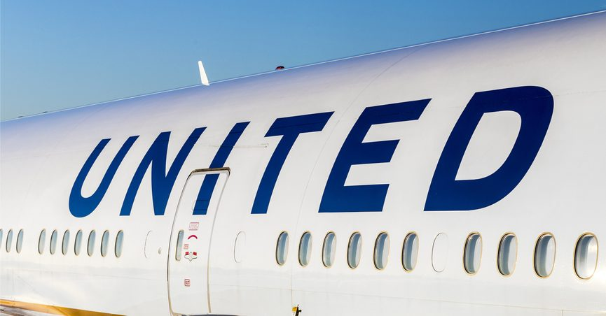 Side of United Airlines airplane
