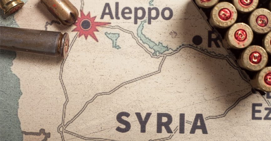 Map of Syria with bullet casings scattered over it