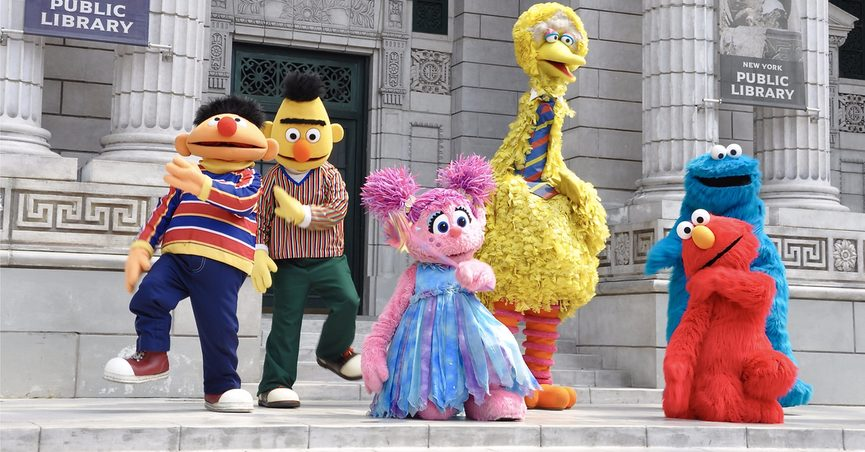 """Characters from """"Sesame Street"""" in front of a public library, Singapore"""