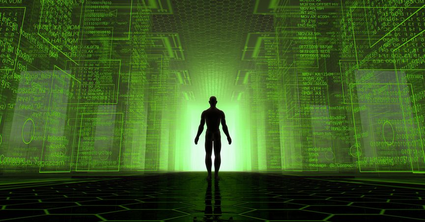 Visual concept of man standing in virtual code environment