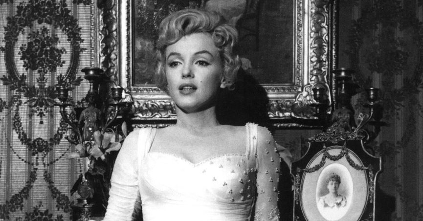 """Marilyn Monroe in a black-and-white still from """"The Prince and the Showgirl"""""""