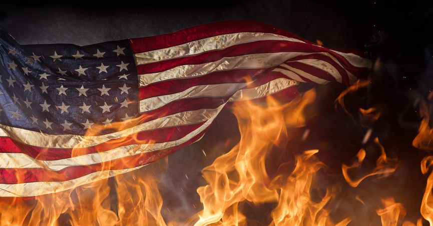 American flag on fire