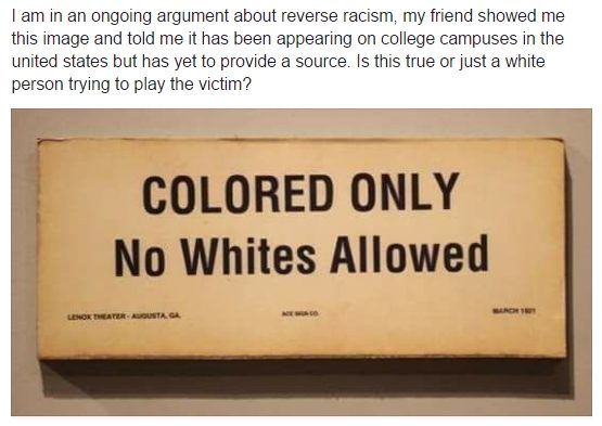 Colored Only - No Whites Allowed