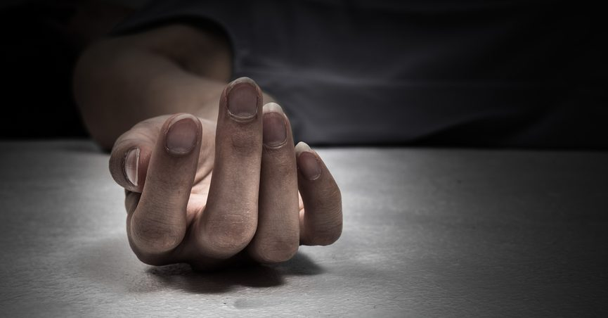 Close up of hand of dead person