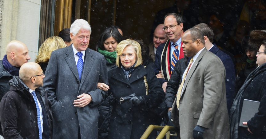 NEW YORK CITY - JANUARY 6 2015: funeral services were held for former New York governor Mario Cuomo at St. Ignatius Loyola Church on Manhattan's Upper East Side. Bill & Hillary Clinton