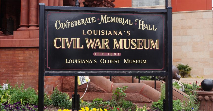 Sign for Louisiana's Civil War Museum and Confederate Memorial Hall