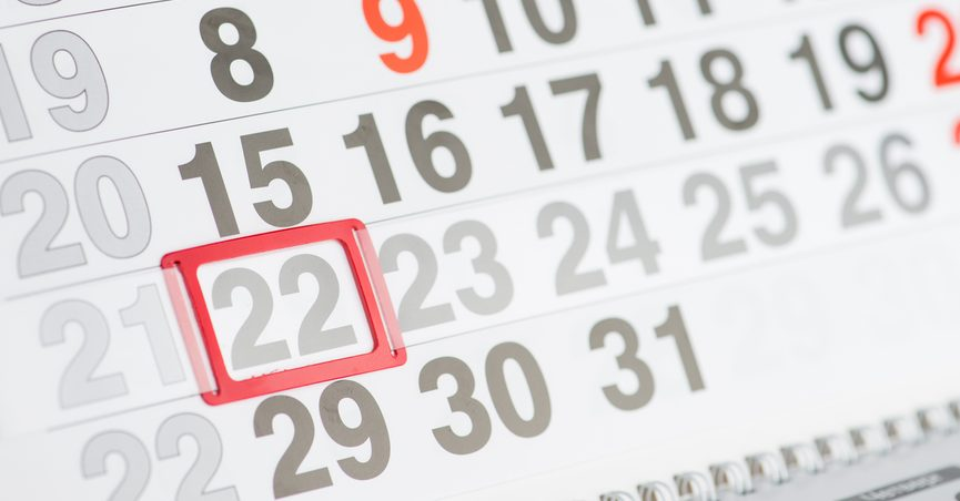Calendar with 22nd Day highlighted