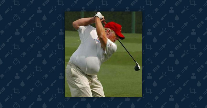 Doctored image of President Donald Trump swinging a golf club.