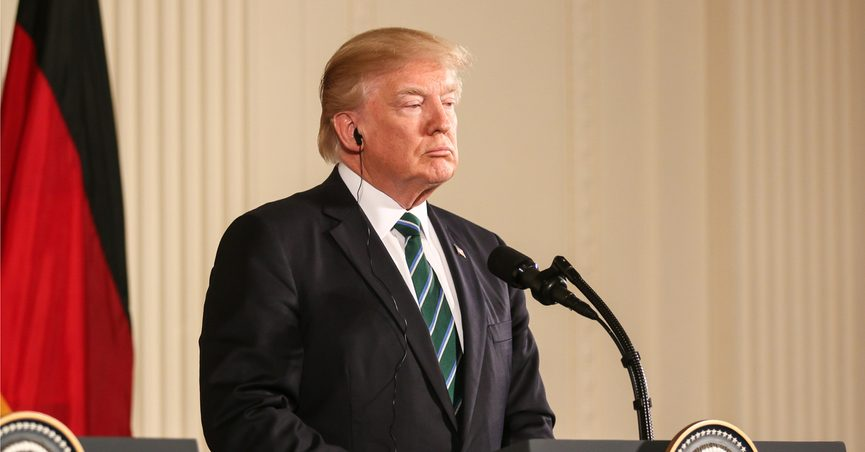 President Donald Trump giving a press conference