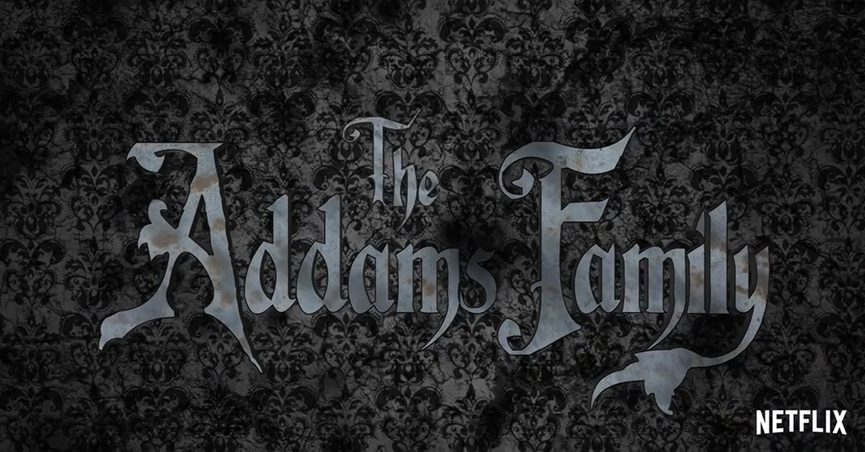 """Text on gray background that says: """"The Addams Family"""""""