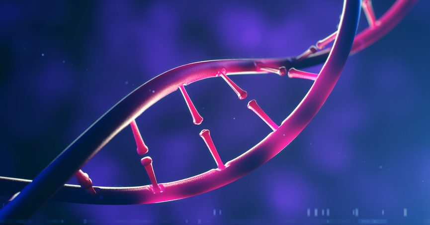 An artists' conception of a strand of DNA.